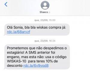 sms erro shaeco